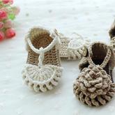可爱花朵夏凉宝宝鞋编织视频教程--装饰立体花钩法