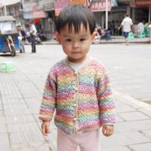 彩虹糖果色婴幼儿钩针长袖圆领小开衫