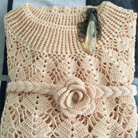 快乐编织织LK150机织漂亮玫瑰花腰带 也可棒针编织