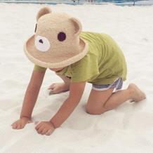 儿童钩针棉草小熊沙滩遮阳帽编织图解