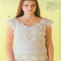 仙气十足的少女钩织结合白色拼花短袖套衫