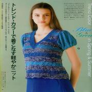 少女棒针镂空花鸡心领金葱三色线灯笼短袖套衫