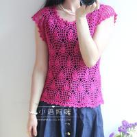 女士纯麻钩针菠萝花短袖套衫