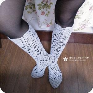 女士钩针蕾丝长筒袜