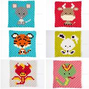 鉤針卡通十二生肖配色圖案(上)可用于編織配色斜紋毛毯