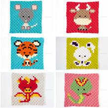 钩针卡通十二生肖配色图案(上)可用于编织配色斜纹毛毯