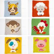 鉤針卡通十二生肖配色圖案(下)可用于編織配色斜紋毛毯