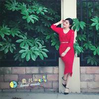 优雅修身女士钩针菠萝花样V领长袖连衣裙