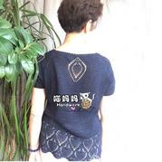 时尚中老年钩针菠萝花样短袖衫