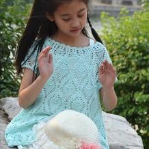 从上往下钩儿童钩针菠萝花无袖连衣裙
