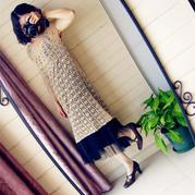 从上往下钩森系女士亚麻钩针长裙