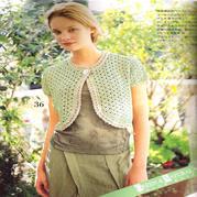 少女钩针粉绿色弧形下摆一颗扣短袖小开衫