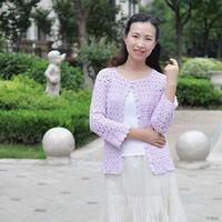 浅紫色3号蕾丝女士钩针优雅开衫