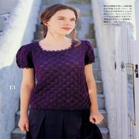 女士富贵紫镂空花方领泡泡袖套衫