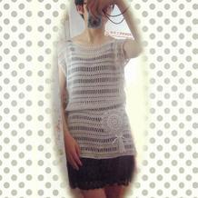 云帛Ⅱ11号桑米色女士极简风落肩无袖网格裙衫