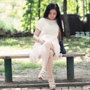 女士棒针云素麻棉素白镂空罩衫