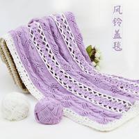 钩织结合风铃盖毯编织视频教程(2-1)棒针钩针毯子