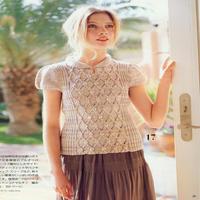 少女棒针夹花线小翻领麻花菱形块泡泡袖套衫