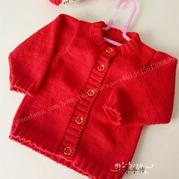 云棉2中国红棒针婴幼儿开衫毛衣