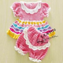 彩虹冰淇淋色钩针宝宝泡袖连衣裙及短裤