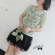 云帛Ⅱ5号薄荷色女士钩针网格玫瑰夏日罩衫