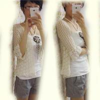 森风格云素麻棉女士宽松短款微喇七分袖开衫