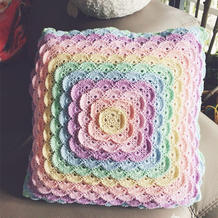 冰淇淋彩虹钩针方型抱枕