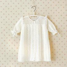 0-6个月白色田园风春夏钩针婴儿开襟裙衫胎帽袜子套装