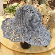 蓝冰色棉草拉菲女士钩针镂空花遮阳帽