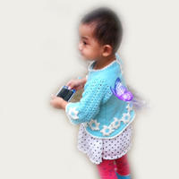 儿童钩织结合长袖裙式毛衣编织视频(4-4)花边花朵钩法
