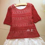 云帛Ⅱ13号玫瑰色女士修身网格短袖套衫
