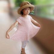 云帛Ⅱ3号樱粉色钩针儿童版亦谷圆领大摆裙