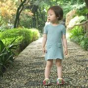 云素麻棉简洁时尚儿童棒针短袖连衣裙
