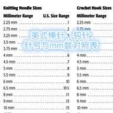 美国工艺纱理事会提供的编织针针号标准对照表