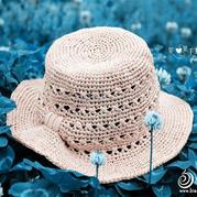 夏季女士钩针蝴蝶结夏凉帽