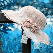 钩针编织纸线女士蕾丝饰带宽檐遮阳帽