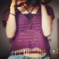 云帛Ⅱ14號桑葚色女士鉤針寬松流蘇罩衫