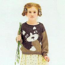 肩上的猫咪  适合90-110儿童穿着的棒针猫咪图案套头毛衣