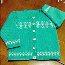 婴幼儿翡翠绿配色棒针圆领开衫