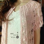 云帛Ⅱ樱粉色女士钩针菠萝短袖开衫