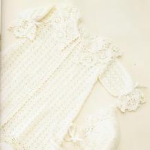 布鲁日蕾丝花边宝宝钩针礼服裙套装