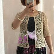 云帛Ⅱ女士春夏钩针菱格中袖开衫