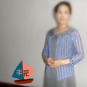 云帛Ⅱ12号靛蓝从上往下钩女士优雅七分袖开衫