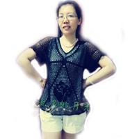 女士云帛Ⅱ夏季钩针短袖V领网衫