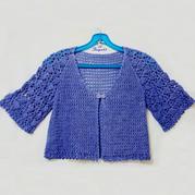 云帛Ⅱ靛蓝色成就的女士钩针夏日小披