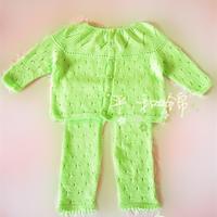 婴儿棒针叶子花毛衣开裆裤套装