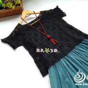剪影云帛Ⅱ女士钩针蕾丝短袖罩衫