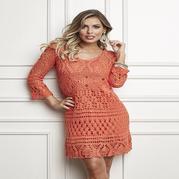美美的钩针橙色拼花菠萝中袖长裙