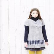 少女钩针灰色短袖半开领长款毛衣裙