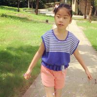 滑针织出提花效果的儿童棒针休闲短袖套衫
